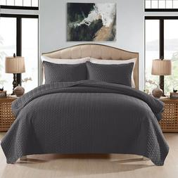 3-Piece Quilt Set with Pillow Shams Bedspread/Coverlet Baske