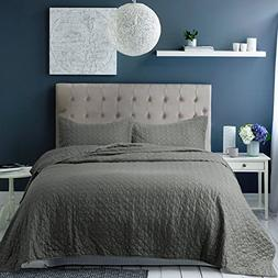 Bedsure Bedding Quilt Set King size Grey 106x96 Quatrefoil P
