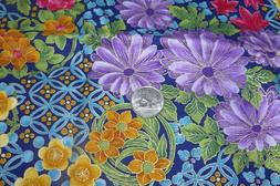 Blank Quilting Cotton Fabric Bright Floral Pattern Gold Meta