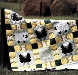 COUNTING SHEEP & FLOWERS  *  PATCHWORK & STRIP VINTAGE QUILT