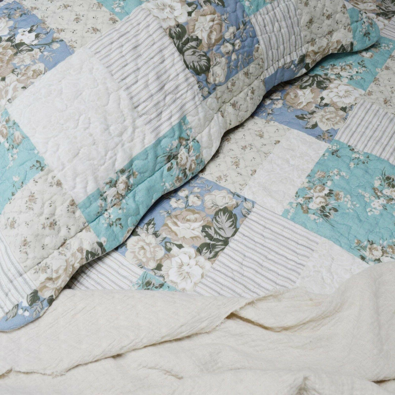 Country Printed Full Patchwork Pattern Printed Bedding Coverlet