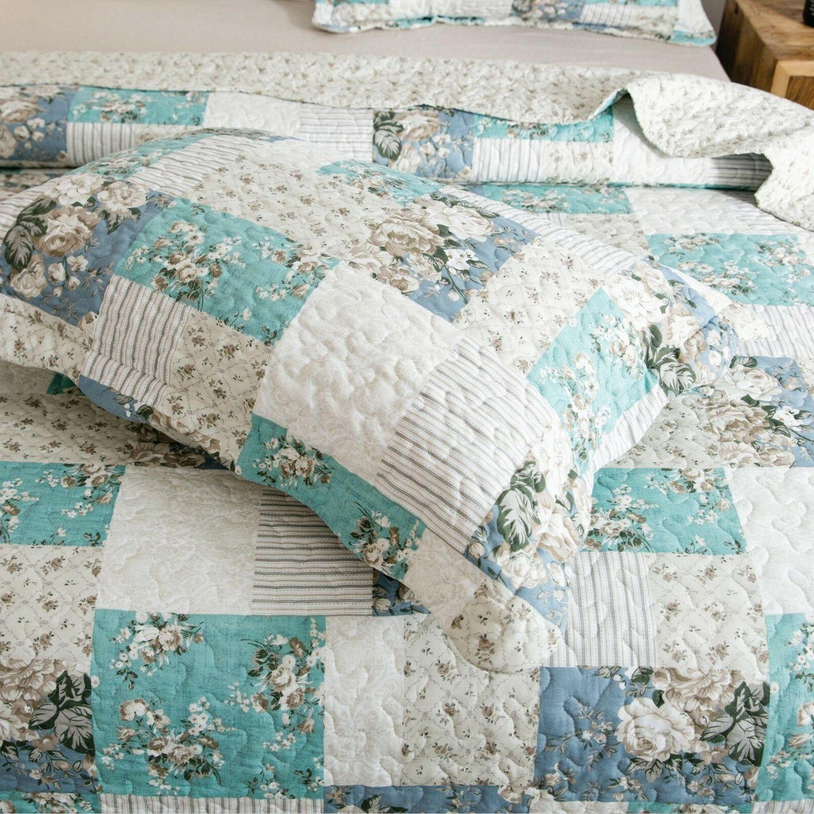 Country Full Patchwork Pattern Printed Quilt Bedding Coverlet Set