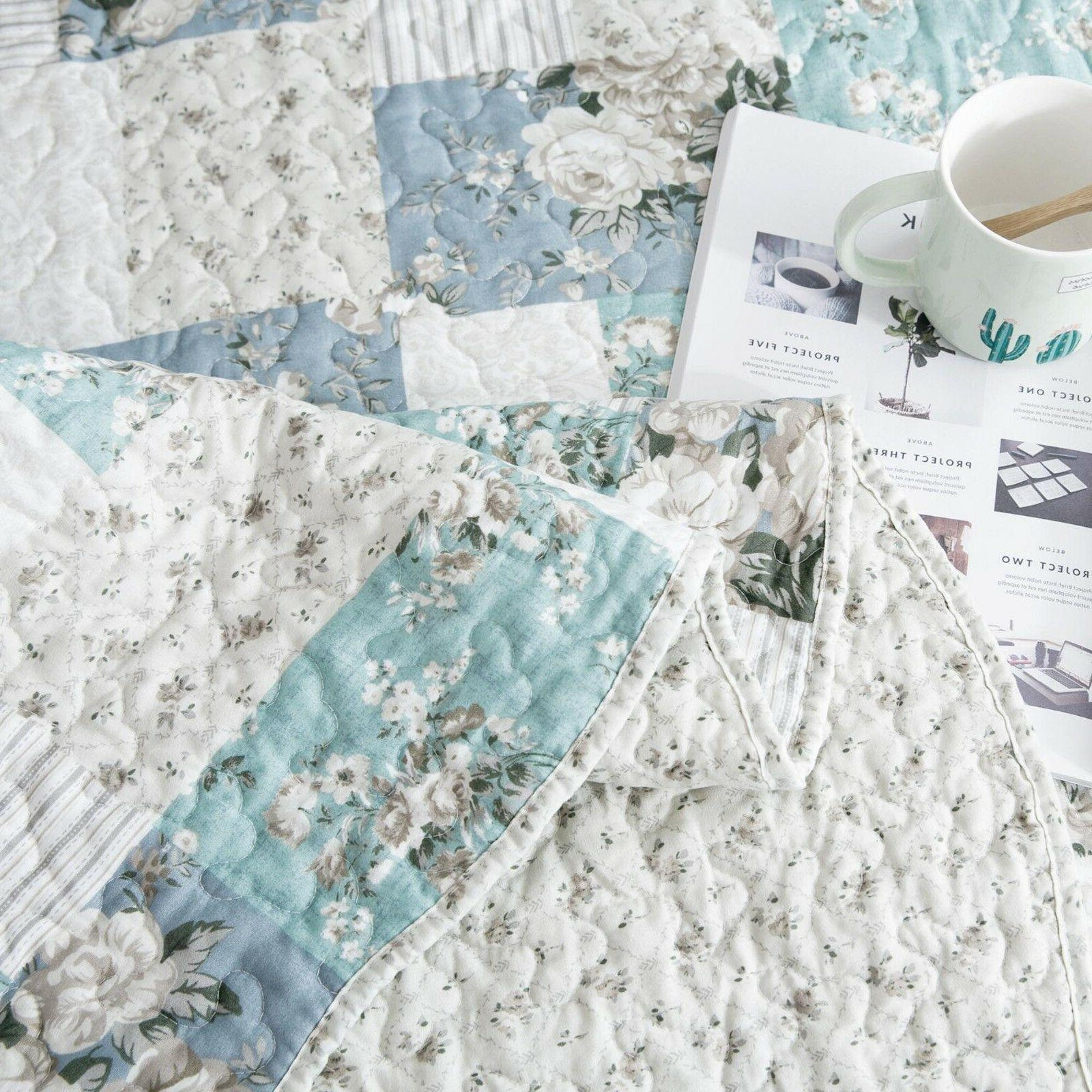 Country Printed Full Patchwork Printed Bedding Coverlet