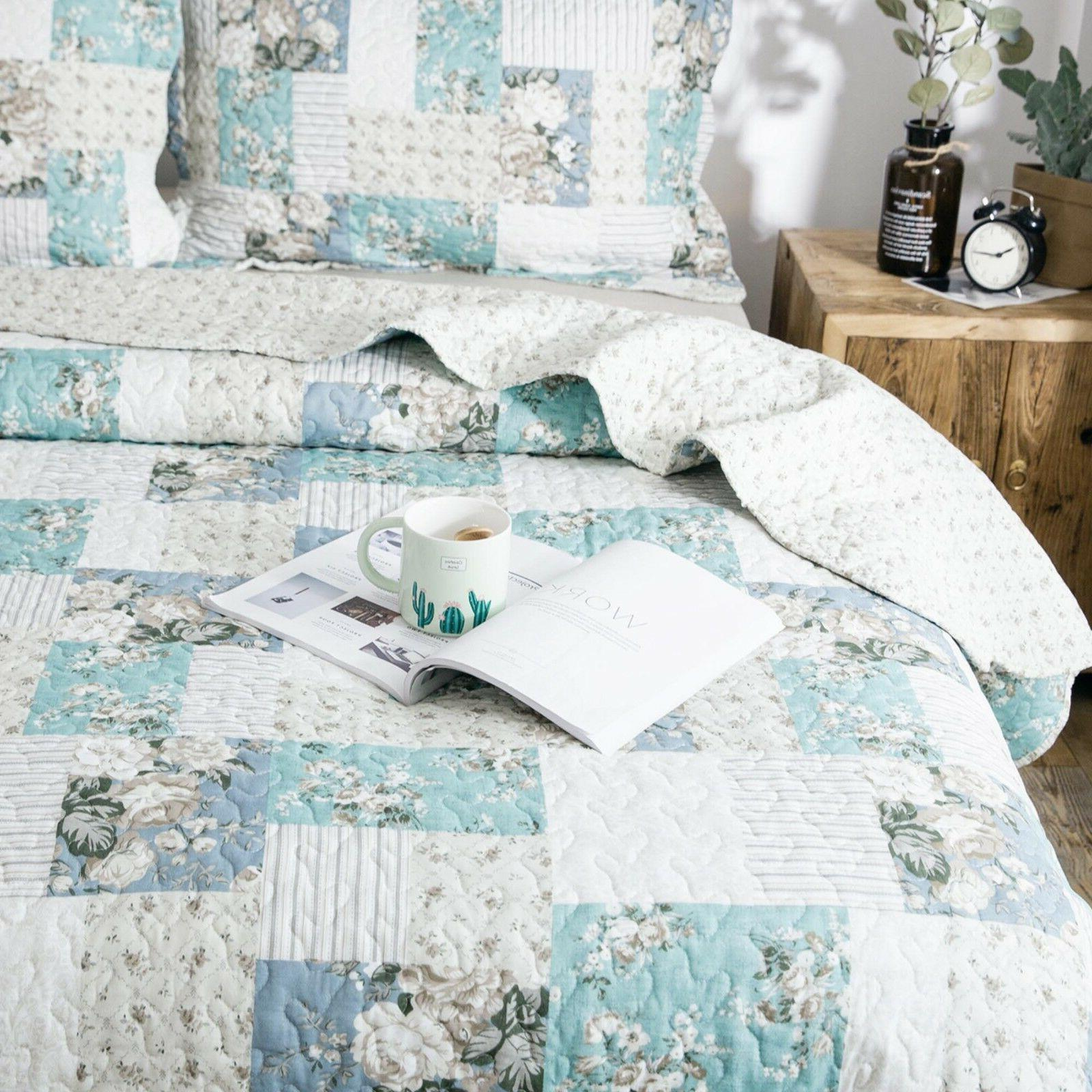 Country Printed Full Patchwork Pattern Bedding Coverlet