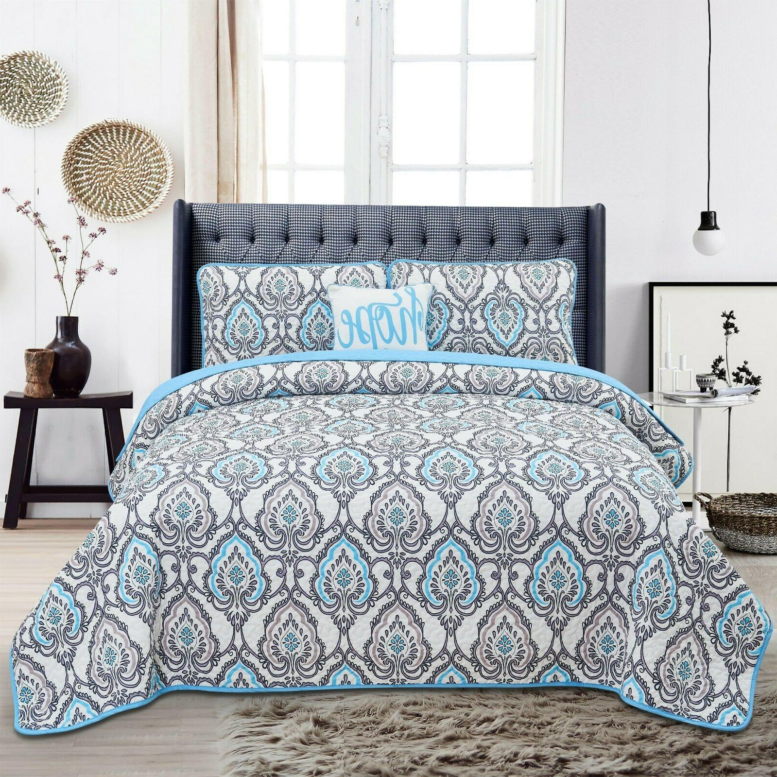4 Piece Quilted Bedding Set Printed Pattern King Queen Quilt
