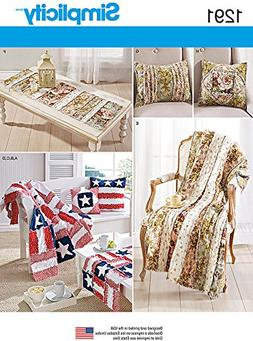Simplicity Pattern 1291 Rag Quilted Throws, Pillows, Bench a