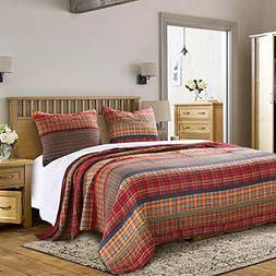 3 Piece Red Yellow Blue Green Full Queen Quilt Set, Plaid Pa