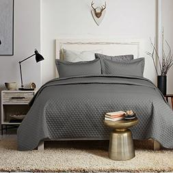 "Bedsure Satin Quilt Set King Size 106""x96"" Dark Grey Diamond"