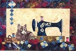 Sewing Cat Kitty Laundry Basket Quilt Applique Pattern