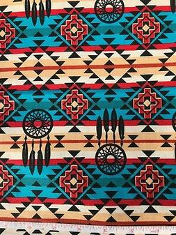 Southwest Arizona Blanket Pattern - Turquoise Quilt Fabric -