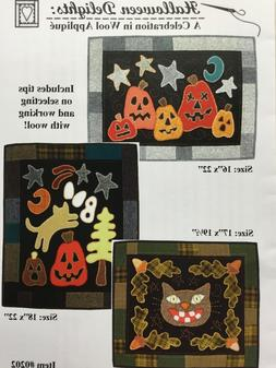 Wool Applique Quilt Pattern HALLOWEEN DELIGHTS Cat Jack-O-La